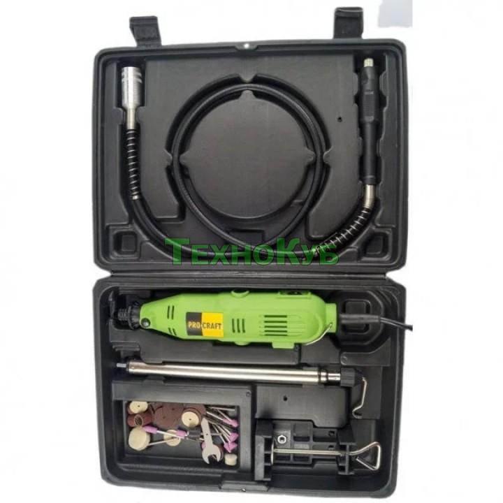 Гравер Procraft PG-400 (в кейсе с гибким валом, проф патрон, крепеж к столу)